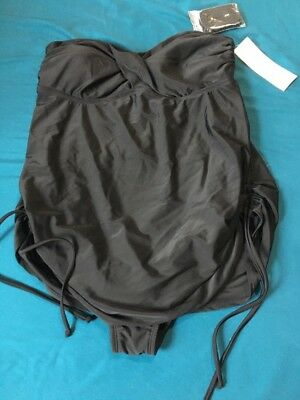 Women's Liz Lange Maternity Bathing Swim Suit Tankini Black Size Medium M