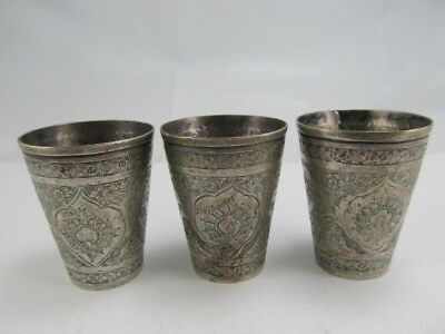 Unmarked 3 Ornate  800 Silver Small Shot Cups Excellent Cond No Mono