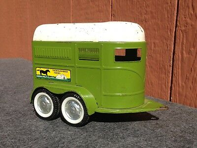 Vintage 1960's Nylint Thoroughbred Farms Horse Trailer Pressed Steel Toy USA