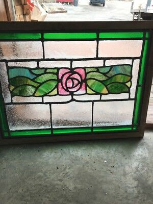 SG 2287 antique Stainglass old rose pattern Window 19.75 x 26.75