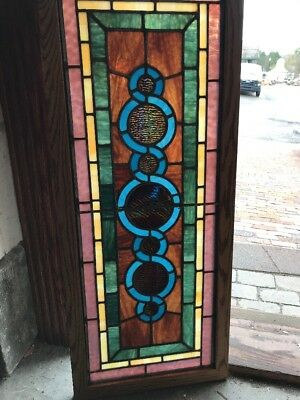 SG 2290 completely restored antique Stainglass window 16 1/8 x 39.25