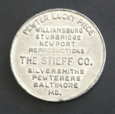 Stieff Company Baltimore Maryland MD Pewter Lucky Piece Good Luck Token