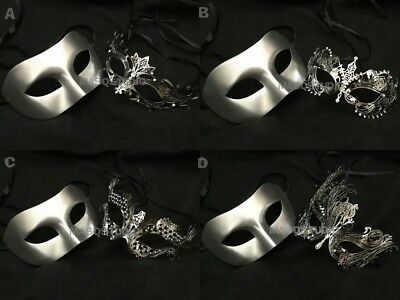Filigree Silver Couple Masquerade Ball Mask Pair Formal Dress Costume Prom Party
