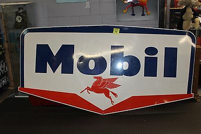 1956 Original Mobil Oil double-sided porcelain pegasus service station sign