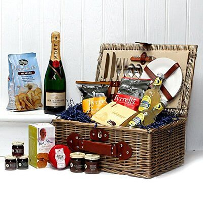 Fine Food Hamper Presented in a 2 Person Knightsbridge Picnic Basket with Moet -