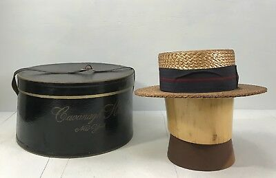 TB- Antique 20s Men's Knox Straw Boater Hat Navy & Red Stripe Band Hatbox inc