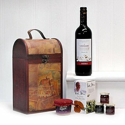 The Clarendon Vintage Wooden Wine Chest Gourmet Food Gift Hamper with 750ml Red