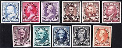 US 219-229P4 Small Banknotes Plate Proofs on Card w/ Carmine Shade 2c  SCV $625