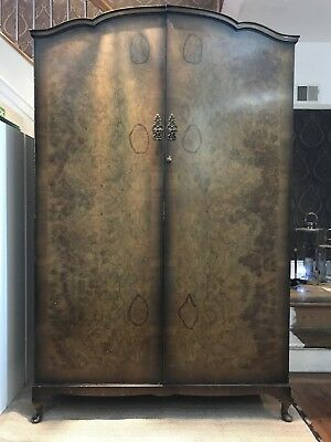 Attractive Large Vintage Burr Walnut Double Wardrobe Armoire With Cabriole Legs
