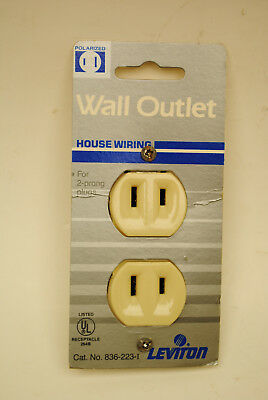 Leviton Cat. 223-I 15-Amp 125-Volt Ivory 2-Wire Outlet Receptacle Non-Grounding