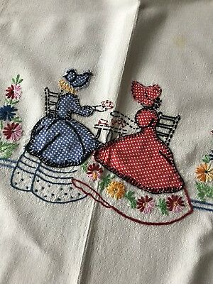 Vintage Tablecloth Tea Party Appliqued Embroidered 32x42
