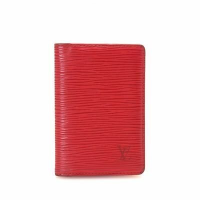 Authentic LOUIS VUITTON EPI Leather Card  Holder Dark Red