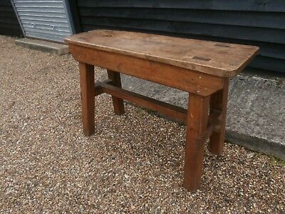 Characterful 19Th Century Elm & Pine Bench Stand Trestle Table Antique Victorian