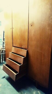Large Vintage Retro Danish Era Mid Century Teak 1960s Wardrobe, angled drawers