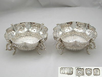 RARE PAIR of EDWARDIAN HM STERLING SILVER EMBOSSED BOWLS 1901