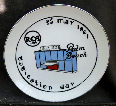 "RCA Dedication Day 6 1/4"" Collectible Plate May 25 1961 Palm Beach Gardens FL"