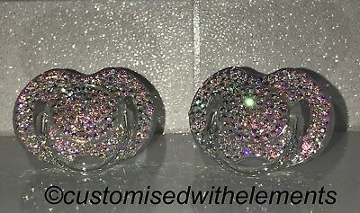 Baby Swarovski AB Strass Avent Dummy Pacifier Christening Baby Shower SEE VIDEO