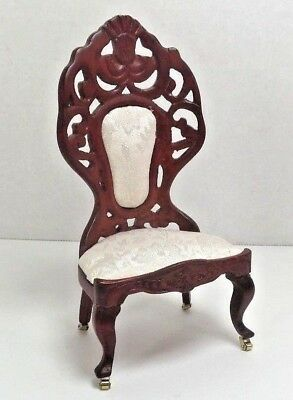 Dollhouse Miniature Vintage Victorian Dining Chair With Castors Cherry Wood Tone