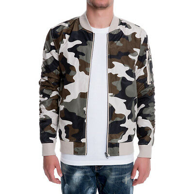 7fff6f4e2b56e Mens Elwood CAMO BOMBER JACKET Windbreaker Zip Casual Light Field Army  Fatigue