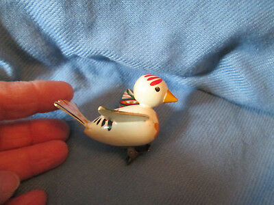 Vintage wood bird clip on for tree branch Hand painted