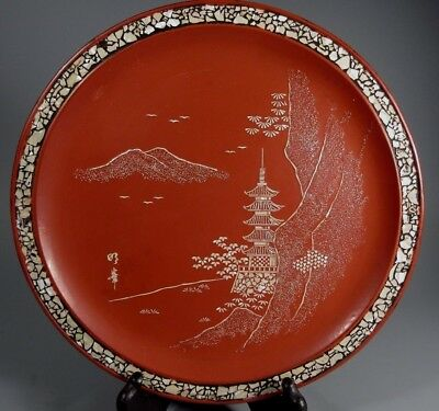 Japan Japanese Red Lacquer & Mother of Pearl Ryukyuan lacquerware Plate 20th c.