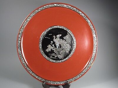 Japan Japanese Red Lacquer & Mother Pearl Ryukyuan lacquerware Plate 20th c. #2