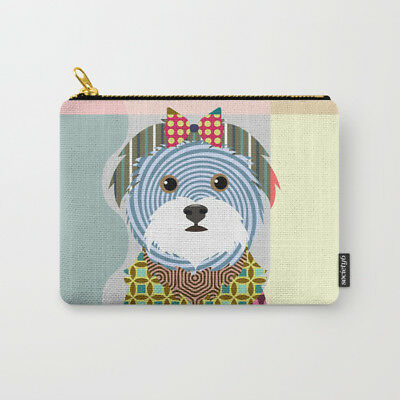 Wallet Maltese Dog Pouch Zipper Bag Animal Art Fabric Purse Dog Puppy Lover NEW