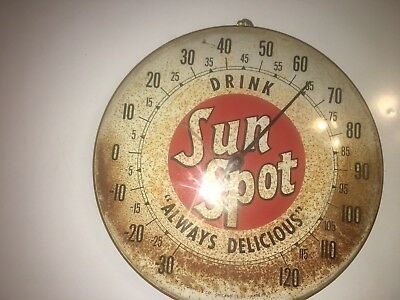"""Sunspot Thermometer Sign Vintage Advertising """"Always Delicious"""""""