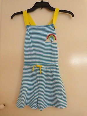 NWT $38 Mini Boden girl's size 6-7 years Sail/Ivory Stripe romper, adjustable