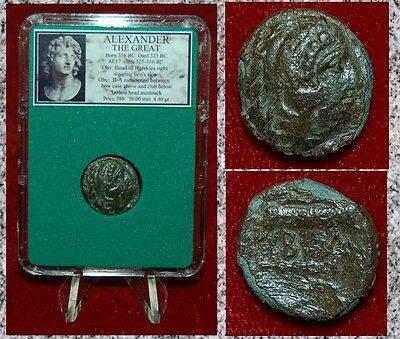 Ancient Greek Coin Of ALEXANDER THE GREAT Head Of HERAKLES Bow Case And Club