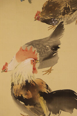 """JAPANESE HANGING SCROLL ART Painting """"Chickens"""" Asian antique  #E1708"""