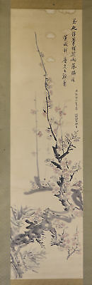"""JAPANESE HANGING SCROLL ART Painting """"Plum blossoms"""" Asian antique  #E1715"""
