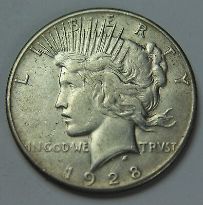 1928-P Peace 90% Silver Dollar Key Date Free Shipping $1 Old US Coin P2R D030