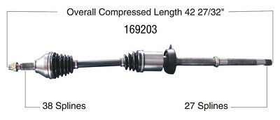 CV Axle Shaft-New Front Right WorldParts 169203