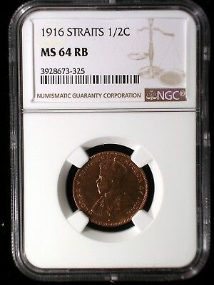 Straits Settlements 1916 1/4 Cent and 1/2 Cent Both *NGC MS-64 RB* Two Coin Set