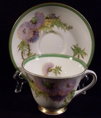 Royal Doulton Glamis Thistle signed P Curnock cup and saucer set #17