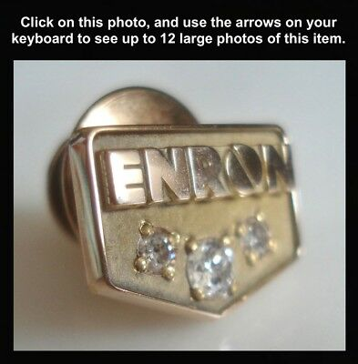 RARE ENRON 10K Solid GOLD - 3 DIAMOND Years of SERVICE AWARD Lapel PIN Tie Tac