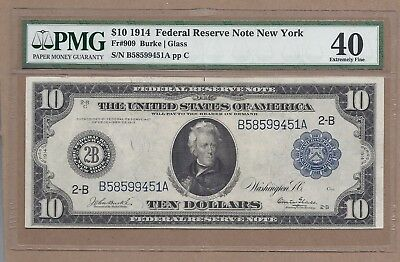 $10  1914 NEW YORK_BURKE and GLASS!!!_Fr.909_PMG40. nice note!