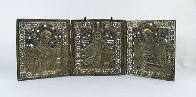 Antique Russian Triptych Traveling Icon Brass Enamel 19th  century