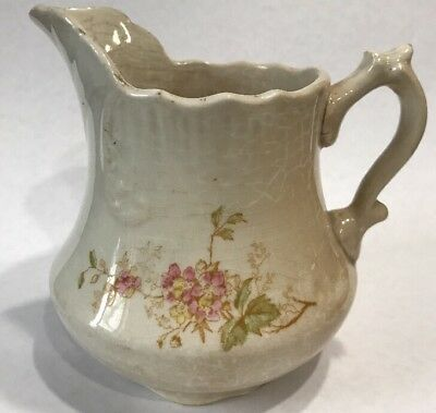 Antique Kitchen Pottery Small Pitcher Ironstone ? Flowers Crazing Very Old  B3