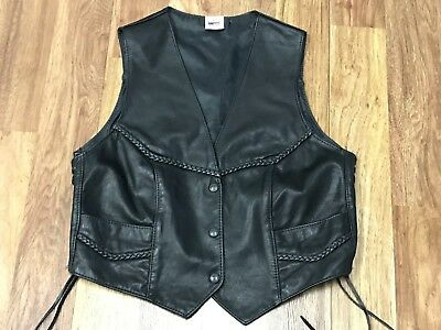 WOMENS LARGE - Vtg Braided Leather Motorcycle Biker Rocker Snap Vest USA