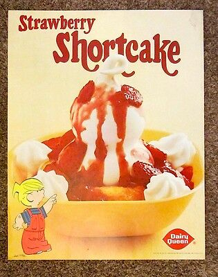 Vtg 1981 DAIRY QUEEN Promotional POSTER Dennis the MENACE Strawberry Shortcak DQ