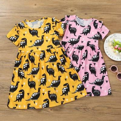 Toddler Kids Baby Girls Short Sleeve Dinosaur Print Party Tutu Dress Clothes