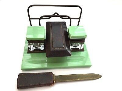 Stunning Vintage Original Art Deco Green Marble Inkwell Pen Rest Desk Set
