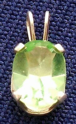 DESIGNER CAST STERLING SILVER GREEN STONE MANUFACTURED Small PENDANT
