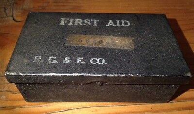 Vintage PG&E Pacific Gas & Electric Small Metal Box First Aid Kit w/ contents