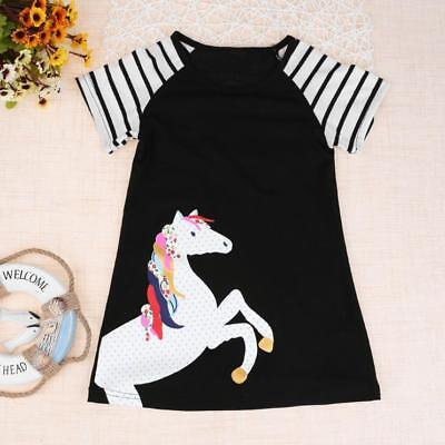 Toddler Kids Baby Girls Short Sleeve Horse Print Summer Dress Outfits Clothes
