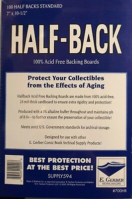100 - E. GERBER HALF-BACK STANDARD 24-Mil Comic Backing Boards - 700HB