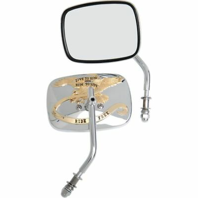 Drag Specialties Chrome/Gold Live to Ride Custom Mirrors For Harley