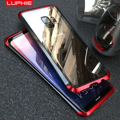 Luphie Metal Bumper Tempered Glass Back PC Case Cover For Samsung Galaxy S9 Plus